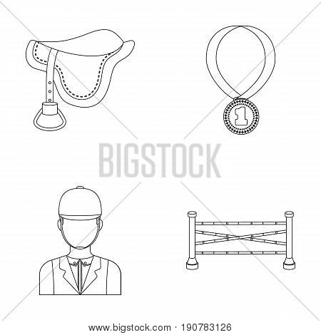 Saddle, medal, champion, winner .Hippodrome and horse set collection icons in outline  vector symbol stock illustration .