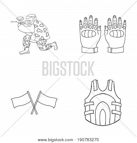 Sport, game, paintball, competition .Paintball set collection icons in outline  vector symbol stock illustration .