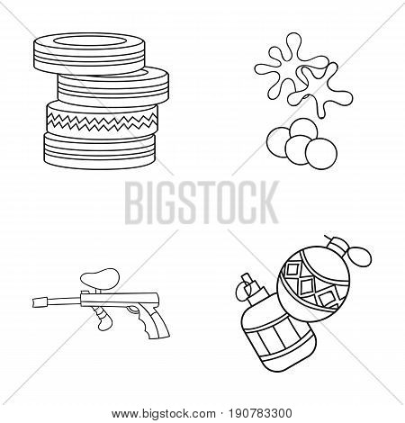 Competition, contest, equipment, tires .Paintball set collection icons in outline  vector symbol stock illustration .