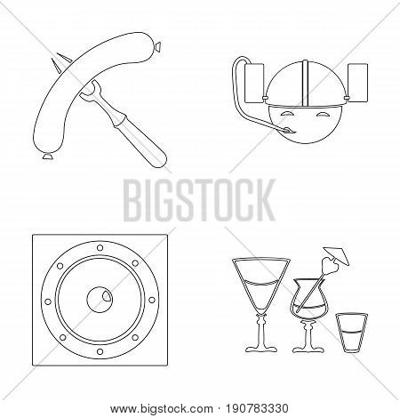 Bar, pub, restaurant, cafe .Pub set collection icons in outline  vector symbol stock illustration .