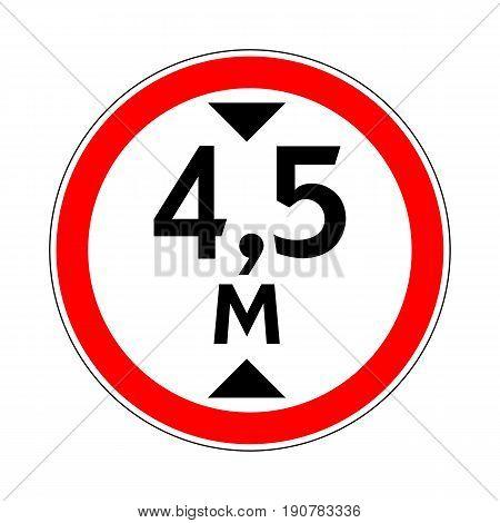 Illustration of Road Prohibitory Sign Maximum Height. Illustration on White