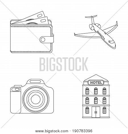 Vacation, travel, wallet, money .Rest and travel set collection icons in outline  vector symbol stock illustration .