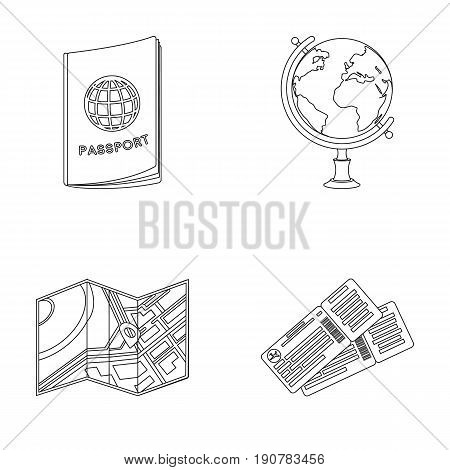 Vacation, travel, passport, globe .Rest and travel set collection icons in outline  vector symbol stock illustration .