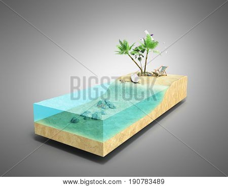 Piece Of Tropical Island With Water And Palms On A Beach In Cross Section Unusual Travel 3D Illustra