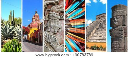 Collection of vertical banners with famous landmarks of Mexico - pyramid of Kukulcan, bas-relief of mayan king Pakal, tower bell in Queretaro, atlantean in Tula