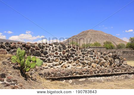 Famous monument - Pyramid of Sun, Teotihuacan ancient historic city, Mexico, North America. UNESCO world heritage site
