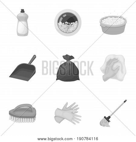 Cleaning, washing and everything connected with it. A set of icons for cleaning. Cleaning and maid icon in set collection on monochrome  vector symbol stock  illustration.