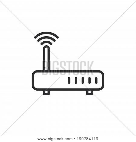 WIFI Internet router line icon outline vector sign linear style pictogram isolated on white. Symbol logo illustration. Editable stroke. Pixel perfect
