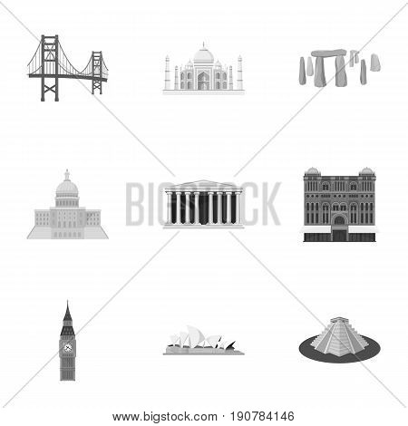 Sights of the countries of the world. Famous buildings and monuments of different countries and cities. Countries icon in set collection on monochrome  vector symbol stock  illustration.
