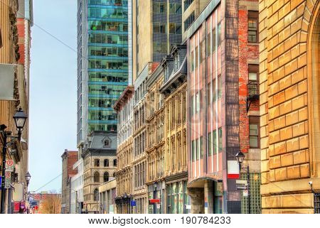 Buildings on Notre-Dame street in Old Montreal - Quebec, Canada