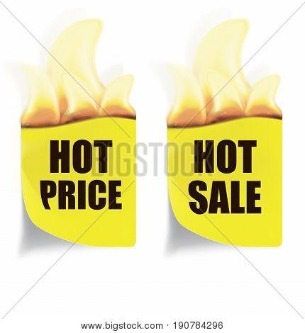 Hot Price Hot Sales Labels. Vector illustration