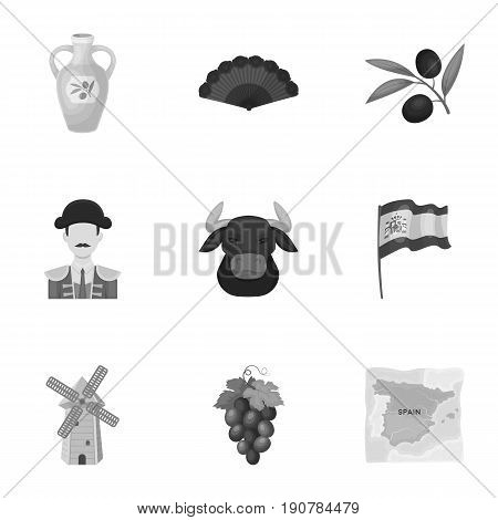 A set of pictures about Spain. Sights of Spain, gypsies, guitar, dances.Spain country icon in set collection on monochrome  vector symbol stock  illustration.