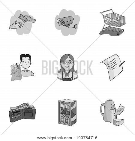Supermarket, shopping in the store. A selection of pictures on the topic of shopping.Supermarket icon in set collection on monochrome  vector symbol stock  illustration.