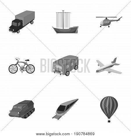 Set of pictures about types of transport. Transportation of people, cargo. Ground, underwater, air transport. Transport icon in set collection on monochrome  vector symbol stock  illustration.