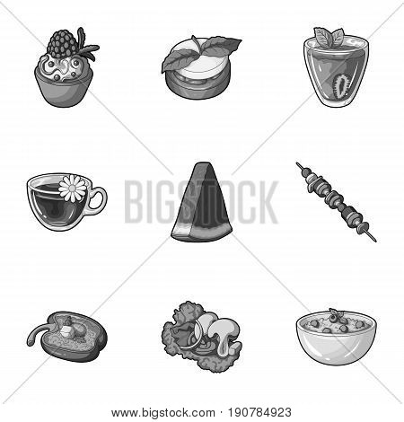 Pictures about vegetarianism. Vegetarian dishes, food vegetarian. Vegetables, fruits, herbs, mushrooms. Vegetarian dishes icon in set collection on monochrome  vector symbol stock  illustration.