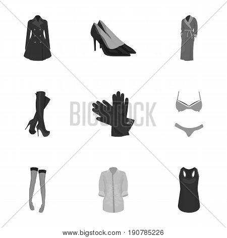 Pictures about types of women's clothing. Outerwear and underwear for women and girls. Woman clothes icon in set collection on monochrome  vector symbol stock  illustration.