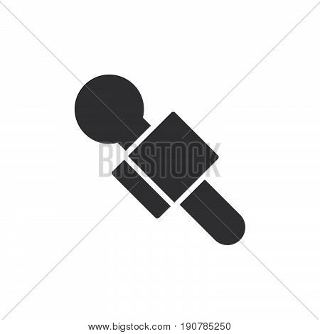 News reporter microphone icon vector filled flat sign solid pictogram isolated on white. Symbol logo illustration. Pixel perfect