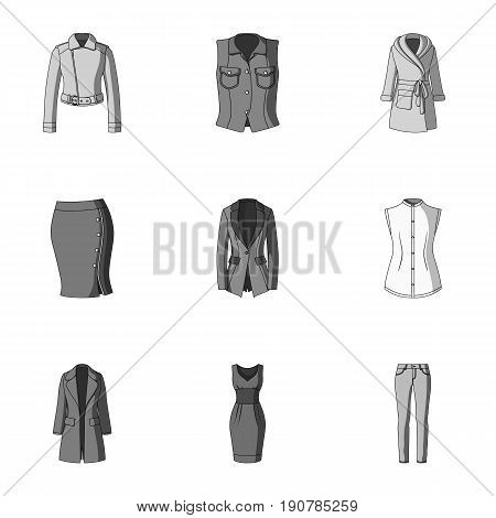 Collection of icons of womens clothing. Various women's clothes for work, walking, sports. Women clothing icon in set collection on monochrome  vector symbol stock  illustration.