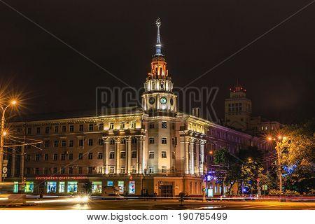 VORONEZH, RUSSIA - JUNE 10, 2017: Lenin Square, Voronezh downtown. Night cityscape.