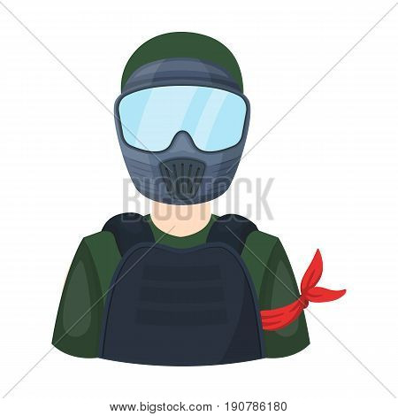 A player in paintball.Paintball single icon in cartoon  vector symbol stock illustration .