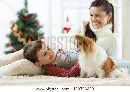 Family mother and her son with dog at christmas tree