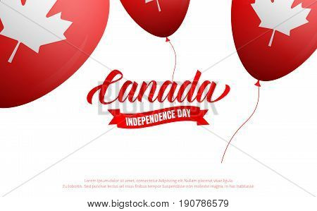Canada Day. Banner with Glossy balloons for Canadian Independence Day holiday.