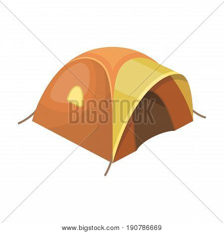 Tent tourist with awning.Tent single icon in cartoon  vector symbol stock illustration .