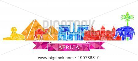 Traditional symbols of Africa in polygonal style