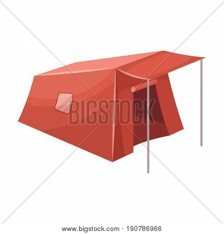 Tent with awning.Tent single icon in cartoon  vector symbol stock illustration .