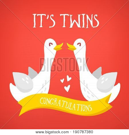 It's Twins. Happy birthday card with cute cartoon geese and ribbon congratulations. Flat design. Vector illustration.
