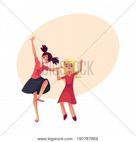 Two girls, one teenager with black ponytails, another blond preschooler, dancing at party, cartoon vector illustration with space for text. Happy girls dancing, having fun at a kids party