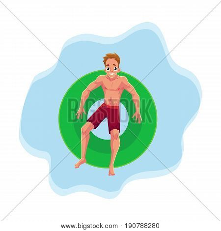 Young Caucasian man on floating inflatable ring resting in star position on the water surface, top view cartoon vector illustration. Young man swimming on inflatable ring, pool party