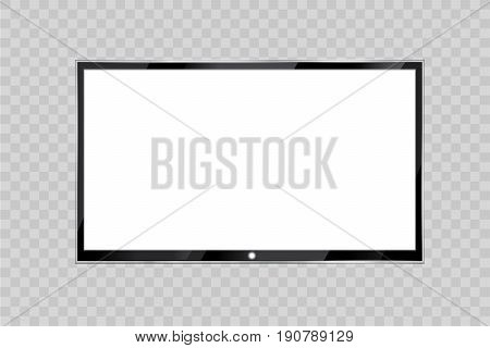 Flat led monitor of computer or black photo frame isolated on a transparent background. Vector blank screen lcd, plasma, panel or TV for your design