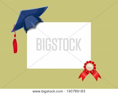 Blue academicic graduation cap with diploma medal. Finish school, college, university. Education symbol. Vector illustration.