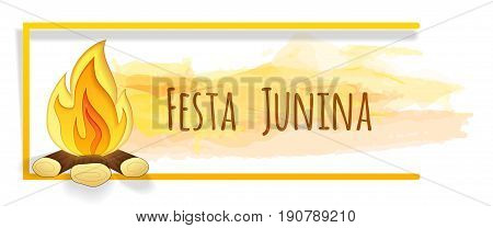 Festa junina banner with watercolor and paper cut bonfire. Vector banner. Latin American holiday. Brazil Festival