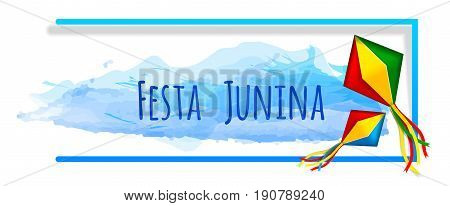 Festa junina banner with watercolor and paper Sky lanterns. Vector banner. Latin American holiday. Brazil Festival