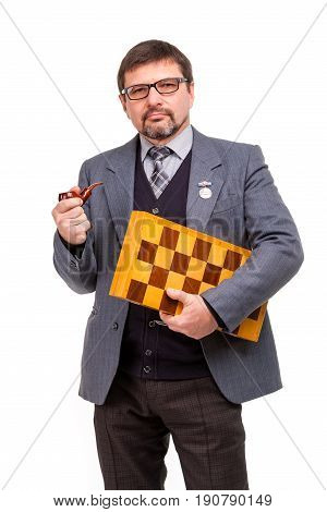 A Handsome Man In A Suit And Glasses, With Chess And A Pipe For Smoking; White Background