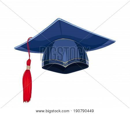 Blue academicic graduation cap. Students ceremony. Finish school, college, university. Education symbol. Isolated white background. Vector illustration.