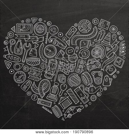 Chalkboard vector hand drawn set of Automobile cartoon doodle objects, symbols and items. Heart composition