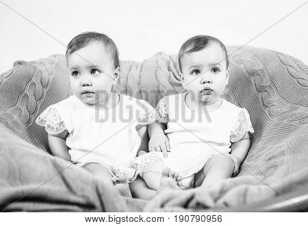 Two adorable baby twin girls. Cute identical twins sitting on the coach.