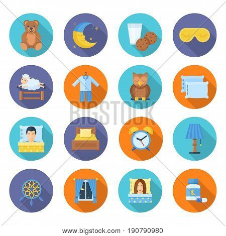 Time to sleep vector icons in a flat style. A set of accessories and items for sleep and rest on a white background. Icons of sleeping men and women.