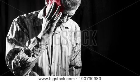 Man In Business Shirt Suffered From Head Pain