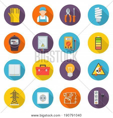 Electrician icon set, professional symbols, install, maintain, and repair electrical power, lighting, and control systems. Vector flat style cartoon illustration isolated on white background