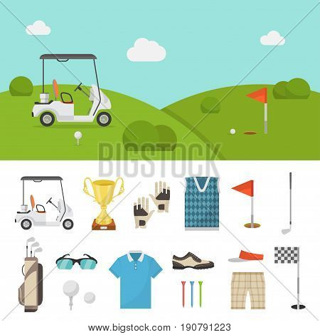 Golf equipment set and lawn picture. Professional items to play the sport, clothing and accessories, beginner or expert club. Vector flat style cartoon illustration isolated on white background
