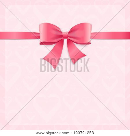 Card witch Silk Pink Ribbon and Bow Decorative Element for Romance Celebration Invitation. Vector illustration