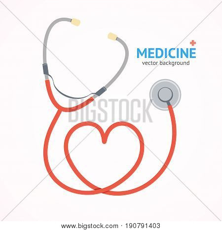 Flat Red Stethoscope witch Heart Shape Medicine Healthcare Concept Cardiology Diagnostic Instrument. Vector illustration
