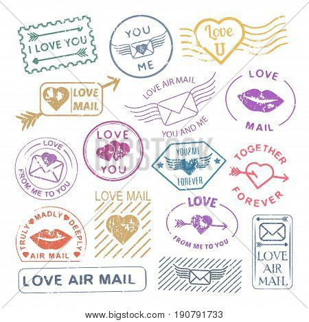 Romantic letter mail stamp set. Valentine decoration, vintage scrapbooking ideas, envelopes and card sticks. Vector flat style illustration on white background