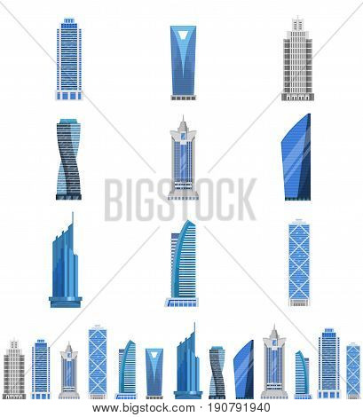 Modern steel and glass skyscraper set, urban tall building with multiple floors, city architecture. Vector flat style illustration isolated on white background