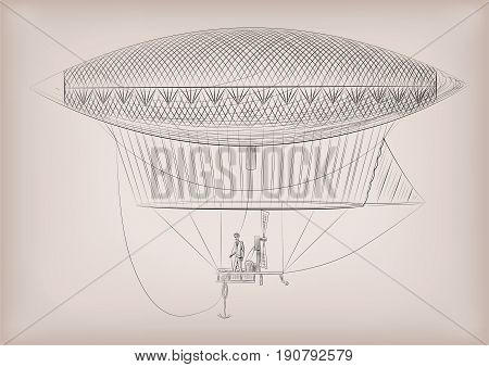 Flying dirigible airship blimp on air. Vector beautiful horizontal closeup side view vintage styled linear illustration isolated on beige background drawn in black line.