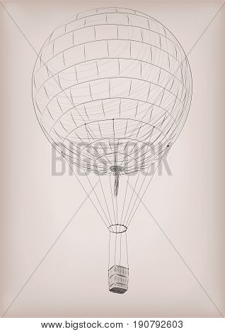 Flying air balloon. Vector beautiful vertical closeup side view vintage styled linear illustration isolated on beige background drawn in black line.